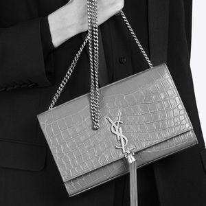 SAINT LAURENT Croc Kate Monogram Tassel Bag